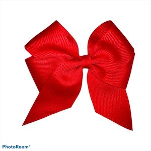 Hair Bow Clip Red Ribbon Closed Barrette Vintage
